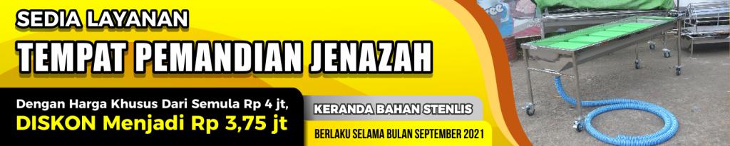 banner promo bulan september diskon tempat pemandian jenazah dari keranda jenazah stainless